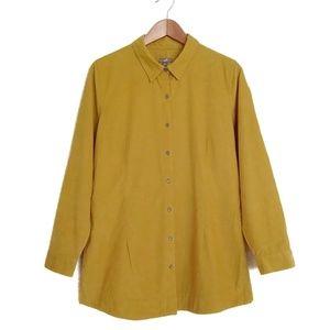 J. Jill Mustard Yellow Corduroy Button Up